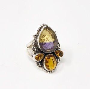 Ametrine + Amber 70s Vintage Silver Navajo Ring